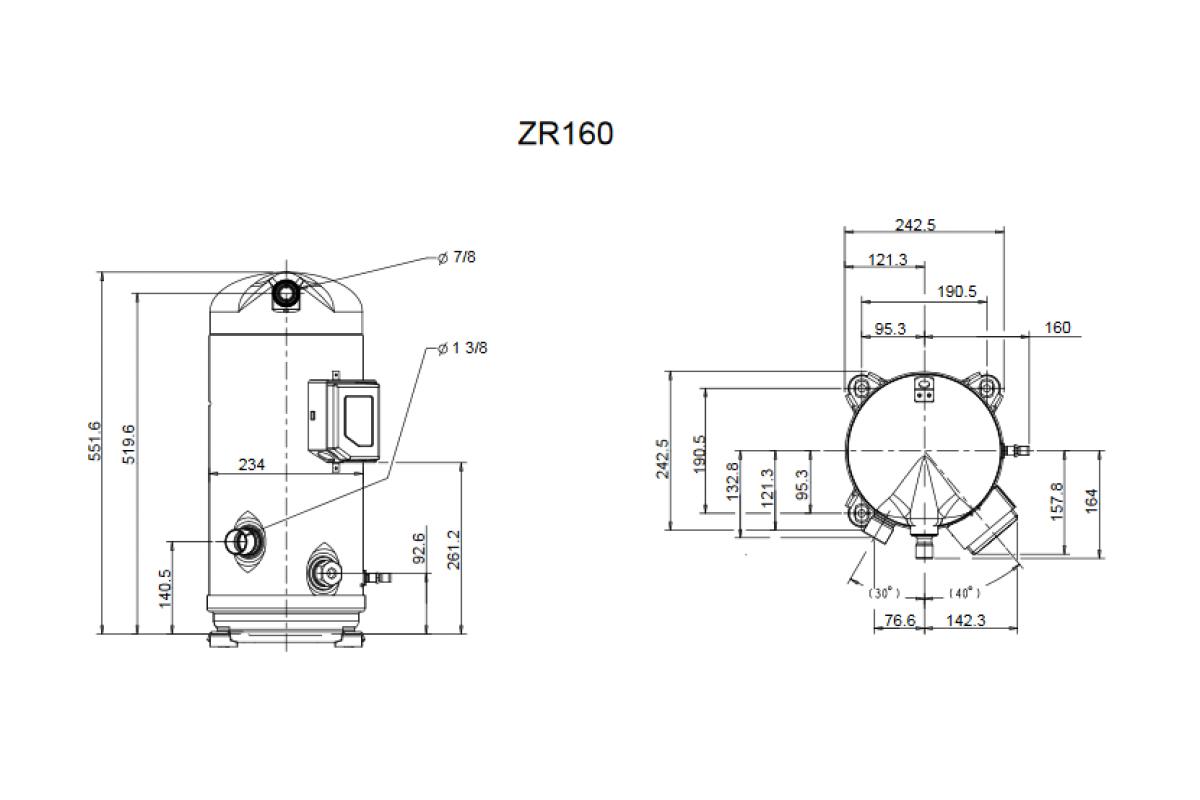 Компрессор Copeland ZR160KCE TFD 455